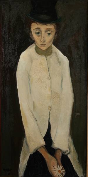 """Gabriel Dauchot, """"Young Man with Daisy"""", Oil"""