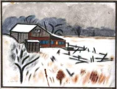 "Charles Culver, ""Barn in Snow"", Ink & Watercolor"