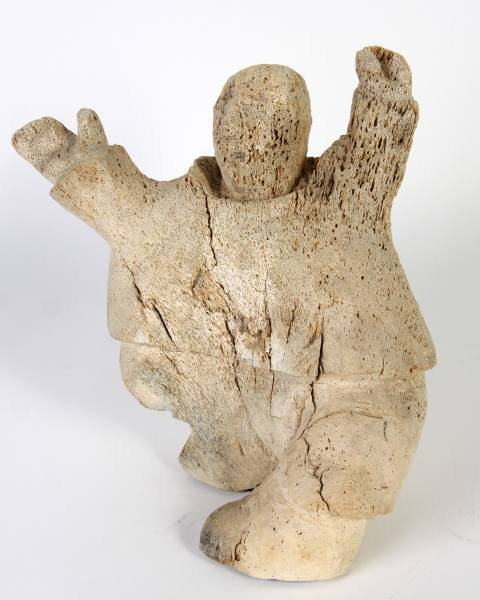 Inuit Carved Whale Bone Standing Figure, 20th C.