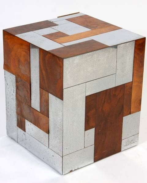 "Paul Evans ""Cityscape"" Chrome & Burl Wood Table"