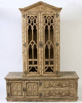 Gothic Revival Painted Cabinet On Stand, 20th C.