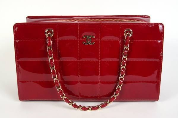 """Chanel """"Camera"""" Red Patent Bag"""