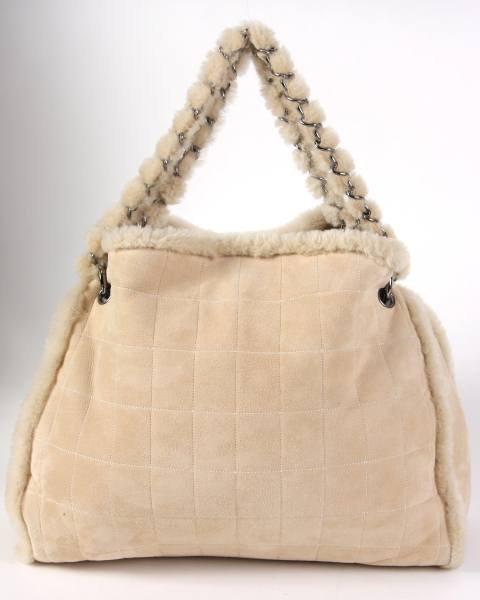 Chanel Beige Shearling Handbag