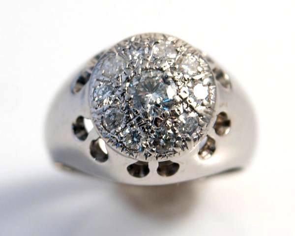 Gent's Ring, 14K White Gold & Diamond Cluster