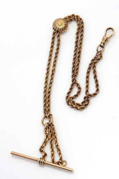 10K Yellow Gold Watch Chain With Slide