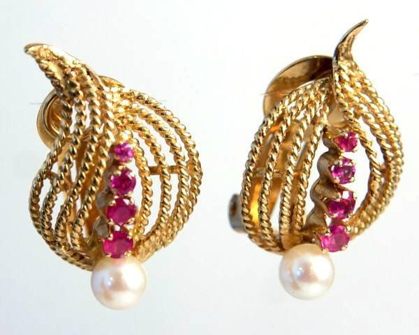 Clip Earrings, 14K Yellow Gold With Pearl & Rubies