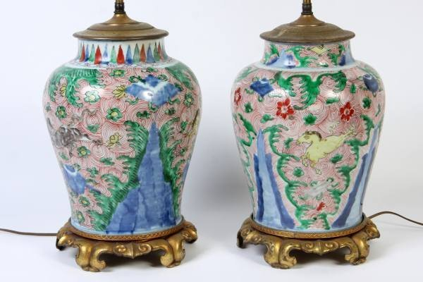 Pair of Porcelain Foliate Decorated Urns