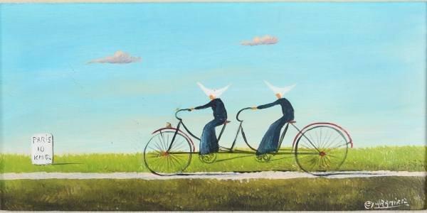 Ramirez (20th C.), Two Nuns Riding a Bicycle, Oil