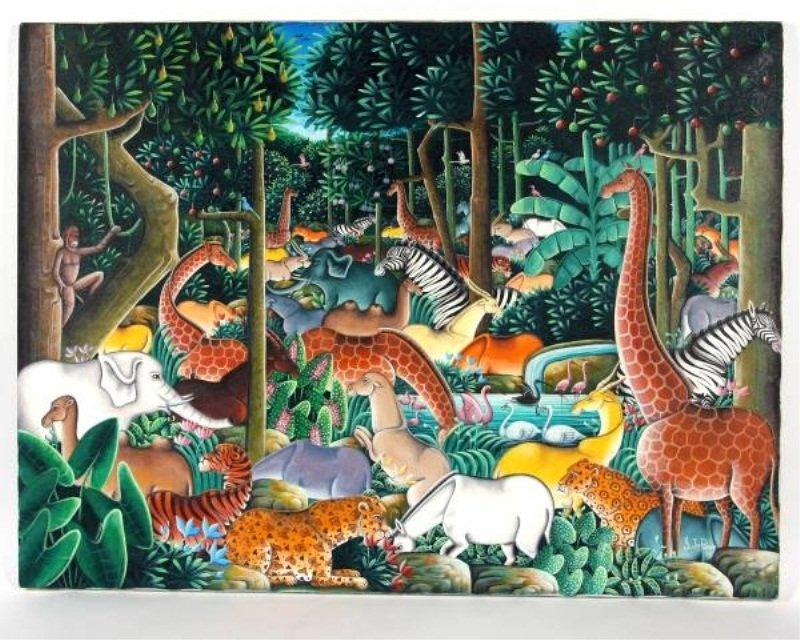 Y. Jn. Pierre (Haiti, 20th C.), Animals in Jungle