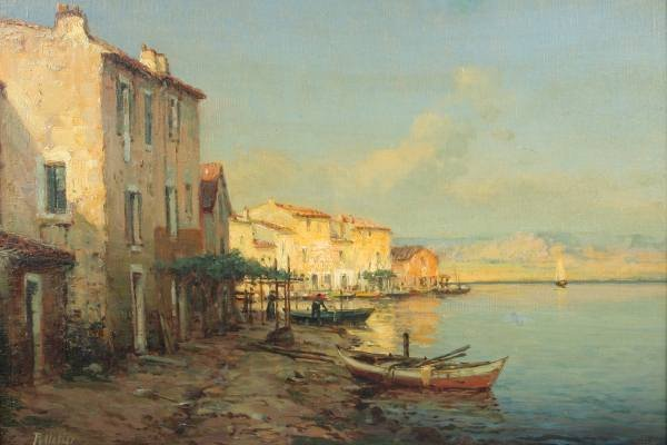 Antoine Bouvard (French, 1870-1956), Village on Canal