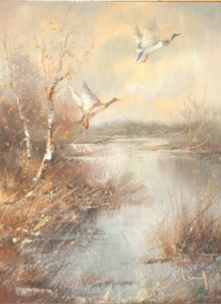 "Hansung (American 20th C.), ""Ducks and Pheasants"""