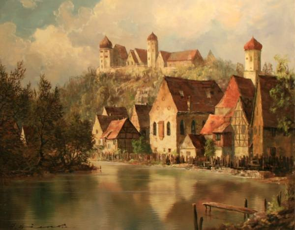 H. F. Dienst (German, B. 1931), Village by Water