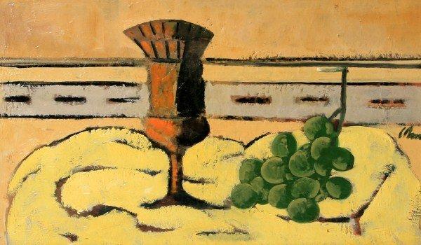 """Harold Cohn (1908-1982), """"Grapes and Goblet"""""""