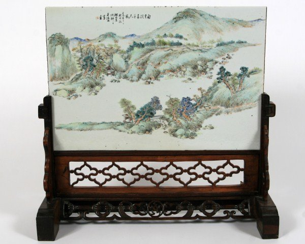Porcelain Table Screen, Chinese, Qing Dynasty