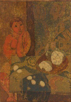 Unknown Artist (20th C.), Seated Nude Before Table