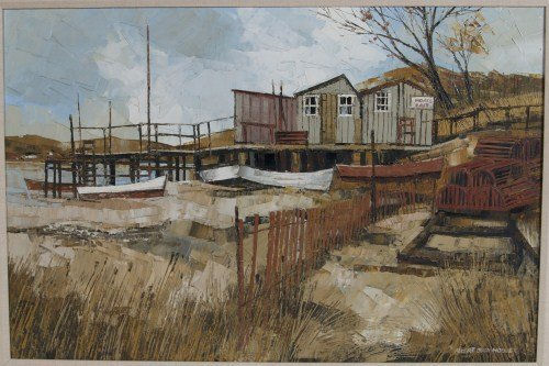 """Albert Sway Hoover (b. 1931). """"Boats and Bait"""""""