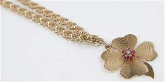 14k Gold Four Leaf Clover Necklace