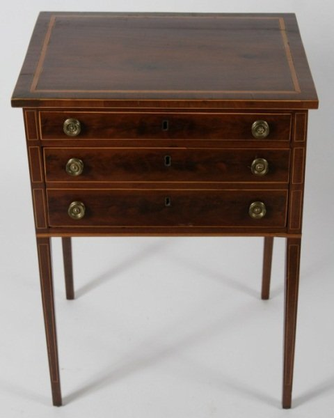 Federal Satinwood Cherry Work Table, 19th C.