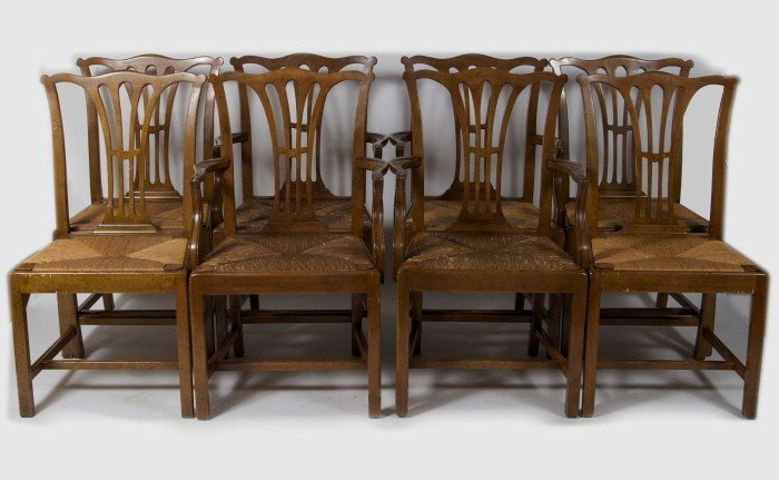 Set of 8 Chippendale Style Dining Chairs, 20th C.
