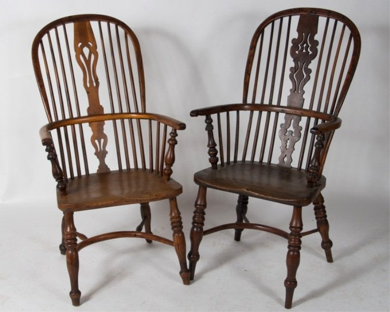 Two Yew and Elm Windsor Armchairs, 19th C.