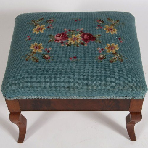 Late Federal Mahogany and Needlepoint Footstool