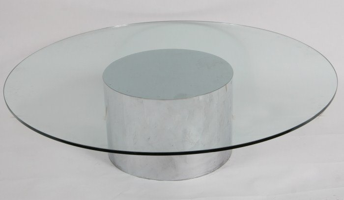 Mid-Century Glass and Chrome Round Cocktail Table