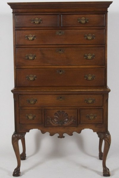Queen Anne Style Mahogany Highboy, 20th C.