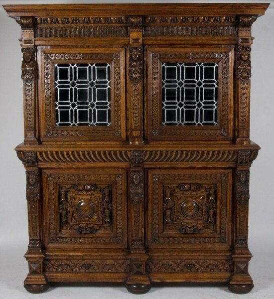 Jacobean Style Cabinet, Late 19th, Early 20th C.