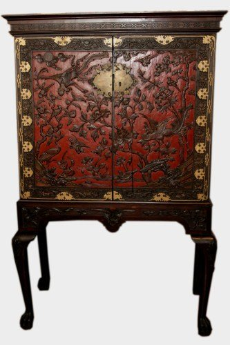 Export Carved & Lacquered Cabinet on Stand, 19th C