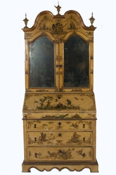 Baroque Style Painted Secretary Bookcase, 19th C.