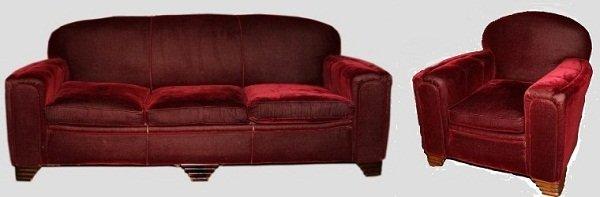 Art Deco Horse Hair Sofa and Armchair