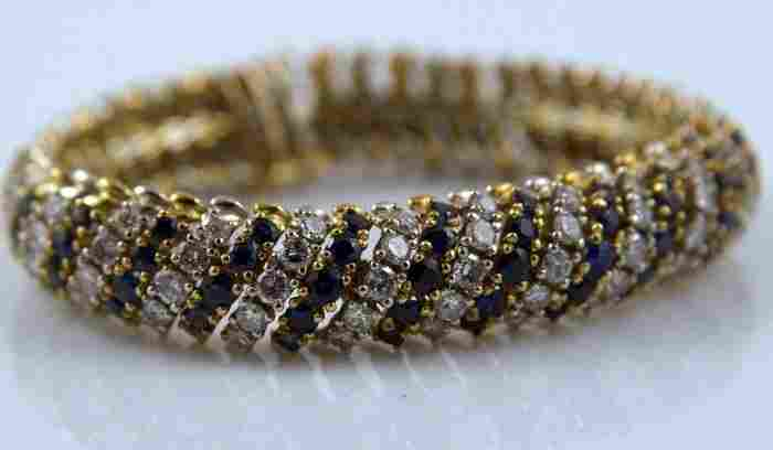 14K Gold, Diamond and Sapphire Bracelet
