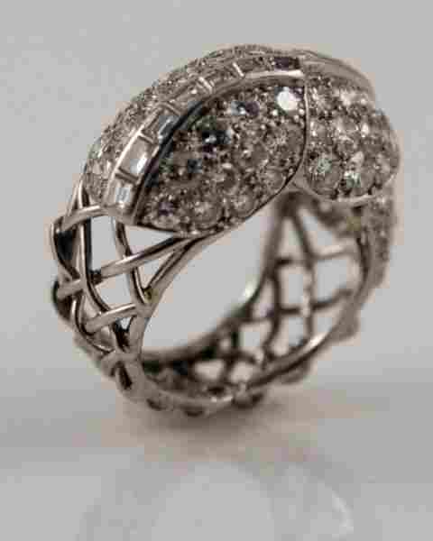 Cartier Platinum and Diamond Cocktail Ring