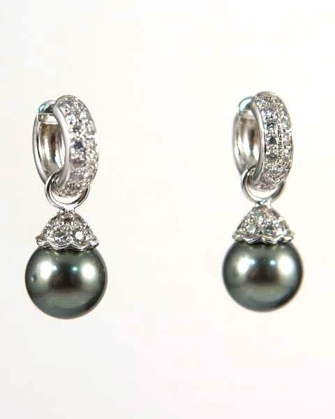 Mikimoto Black Tahitian Pearl & Diamond Earrings
