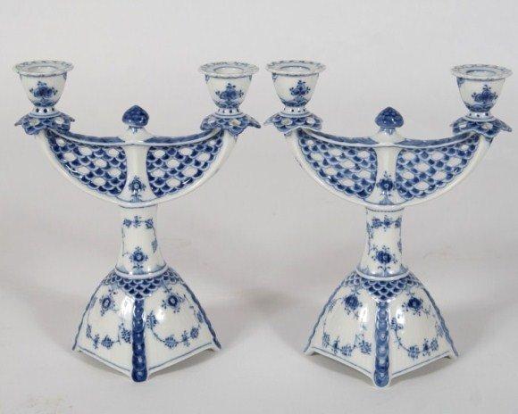 Pair Royal Copenhagen Porcelain 2-Light Candelabra