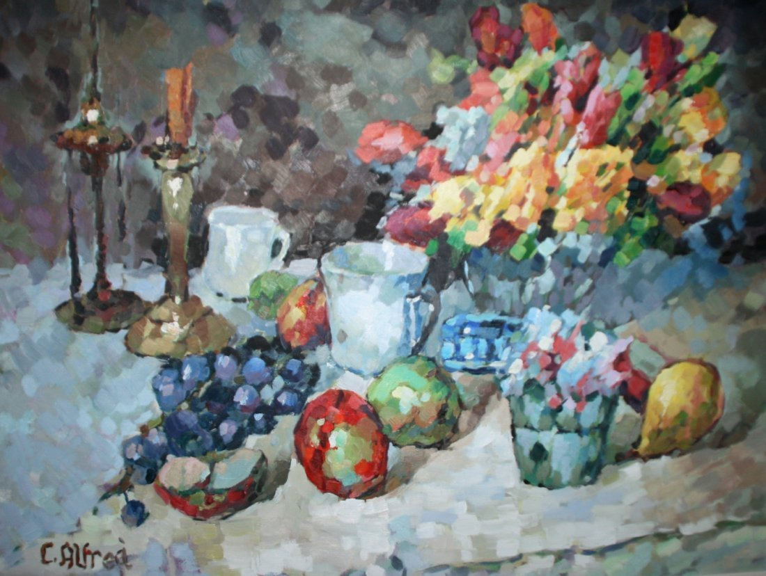C. Alhrea (20th C.), Still Life with Flowers