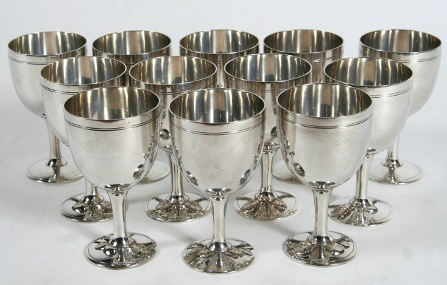 Set 12 Tiffany and Co. Sterling Goblets, 108 Ozt.