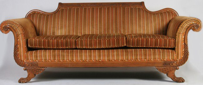 Empire Style Mahogany & Upholstered Settee, 20th C