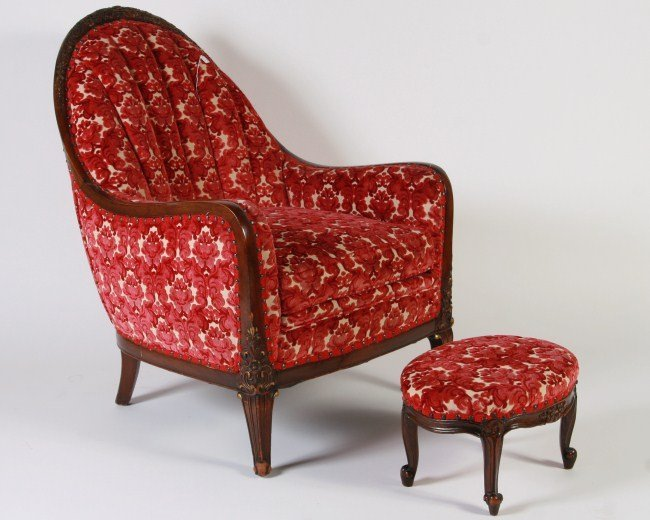 Art Deco Upholstered and Walnut Arm Chair,C. 1930