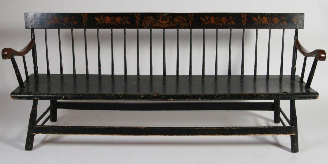 Federal Stenciled Wood Bench, 19th C. New England