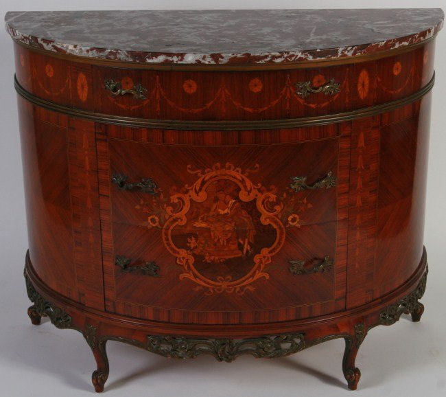 Louis XV Style Fruitwood Marquetry Commode, 20th C