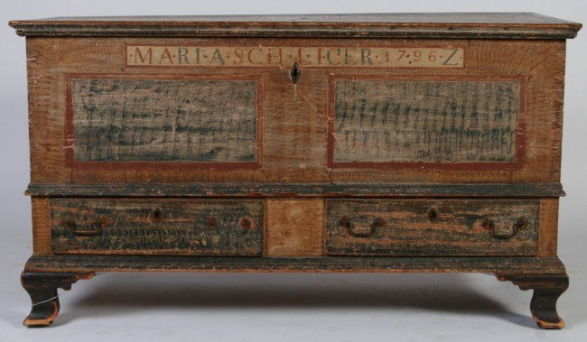 Federal Painted Pine Dower Chest, American 18th C.