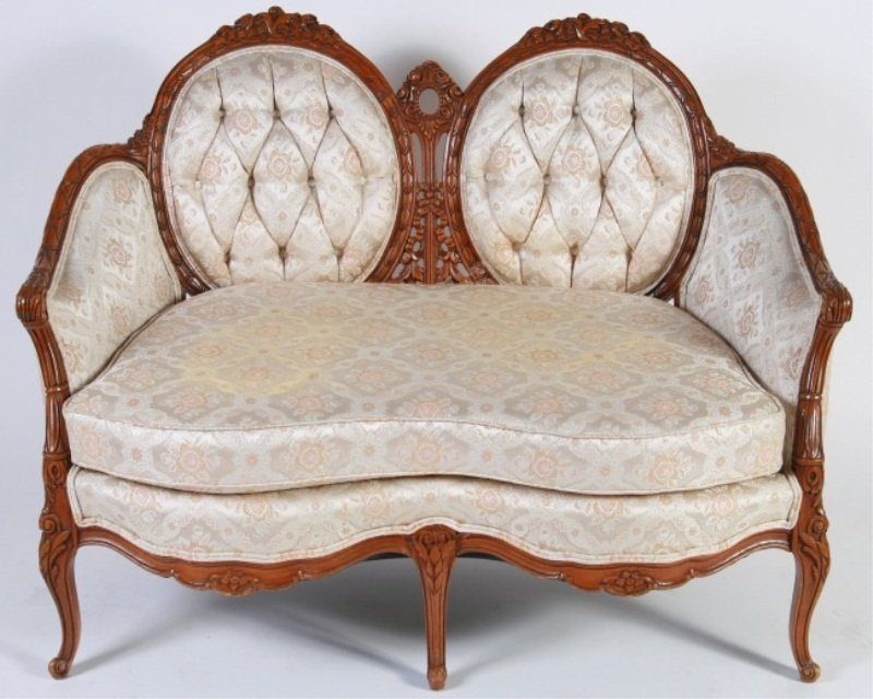 Louis XV Style Carved Fruitwood Settee, 20th C.