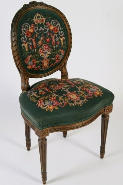 Louis XVI Style Fruitwood and Needlepoint Chair