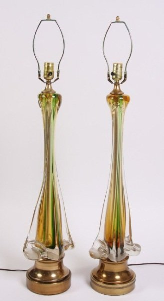 Venetian Glass Table Lamps, Mid-Century Italian
