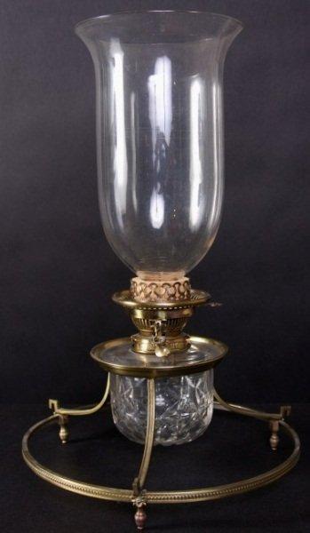 Brass Cut & Blown Glass Oil Lamp, 19th C. English