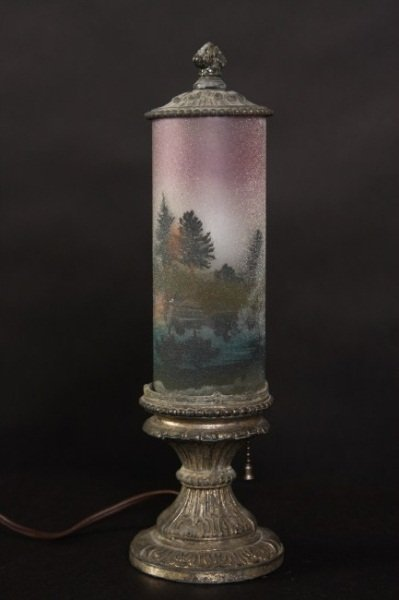 Patinated Metal and Glass Lamp, Early 20th C.