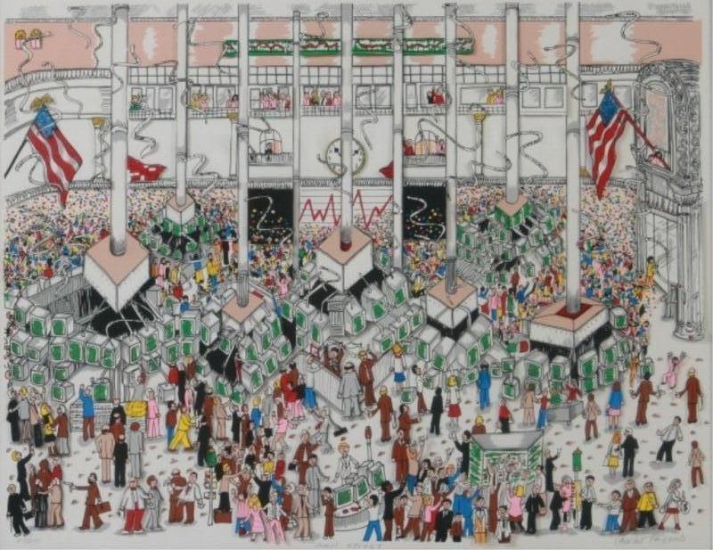 """Charles Fazzino (b. 1955), """"Wall Street"""""""