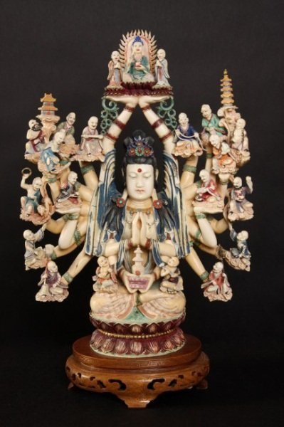 Carved Ivory and Enameled Bodhisattva, 20th C.