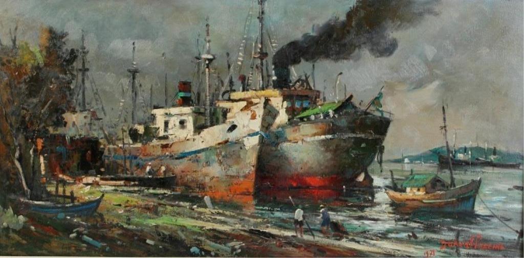 Dorval Pereira (1924-1995), Ships In A Port
